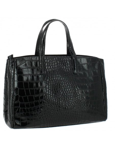 Sac à main en Cuir Tombsor, croco noir - face